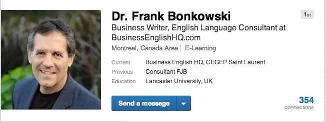 Dr. Bonkowski's LinkedIn profile